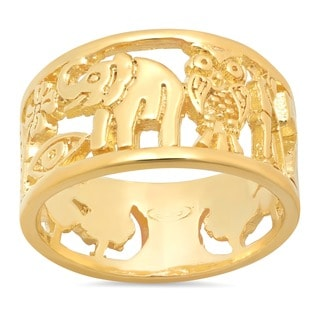Sterling Essentials 14K Gold over Silver Fortuna Cutout Ring