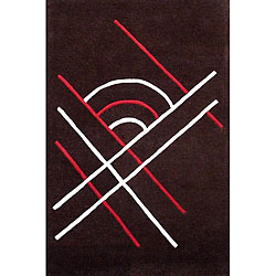 Contemporary Hand-Tufted Brown Wool Rug (5' x 8')