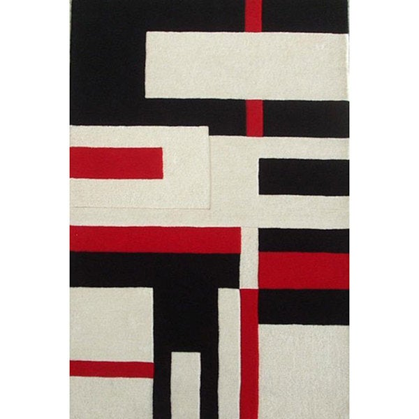 Hand-tufted White Wool Cool Rug (5' x 8') - 5' x 8'