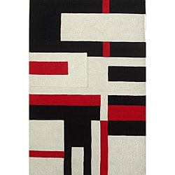 Hand-tufted Off-White Wool Cool Rug - 8' x 11' - Thumbnail 0