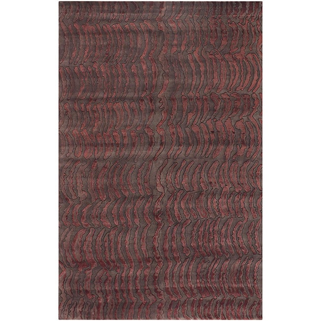 Hand-knotted Royal Abstract Design Wool Area Rug (9' x 13') - 9' x 13'
