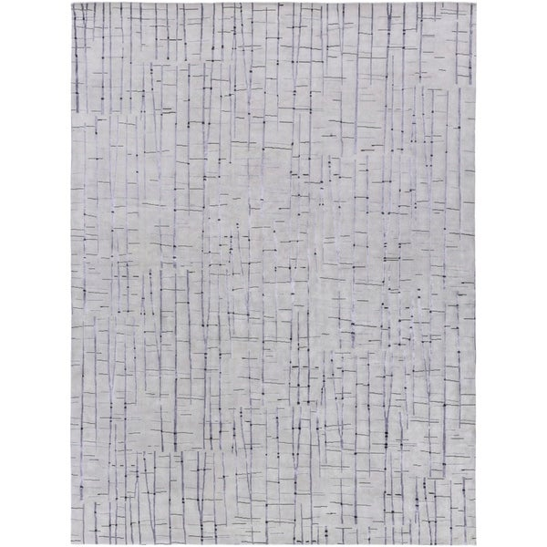 Hand-knotted Blue Royal Abstract Design Wool Area Rug - 8' X 11'