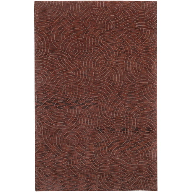 Hand-knotted Red Royal Abstract Design Wool Area Rug (9' x 13') - 9' x 13'