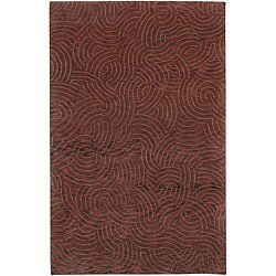 Hand-knotted Red Royal Abstract Design Wool Area Rug - 9' x 13' - Thumbnail 0
