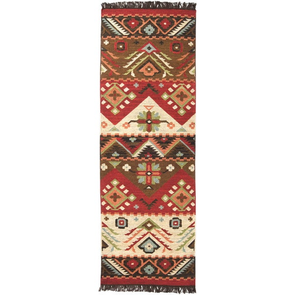 Shop Hand Woven Red Tan Southwestern Aztec Santa Fe Wool