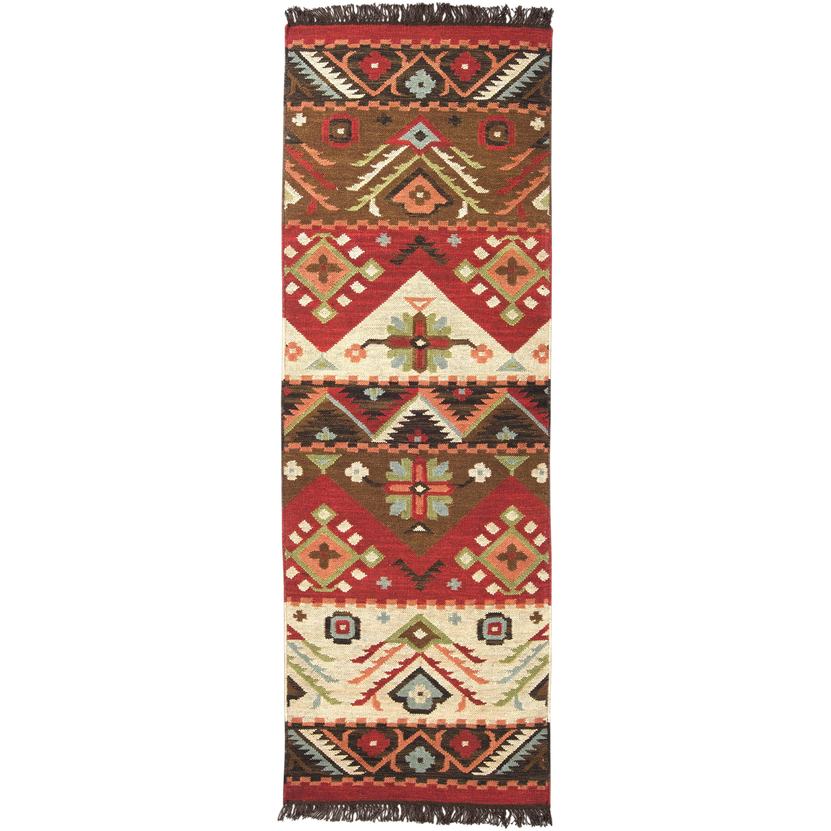 Hand-woven Red/Tan Southwestern Aztec Santa Fe Wool Flatw...