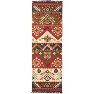 Hand-woven Red/Tan Southwestern Aztec Santa Fe Wool Flatweave Area Rug - 2'6 x 8'