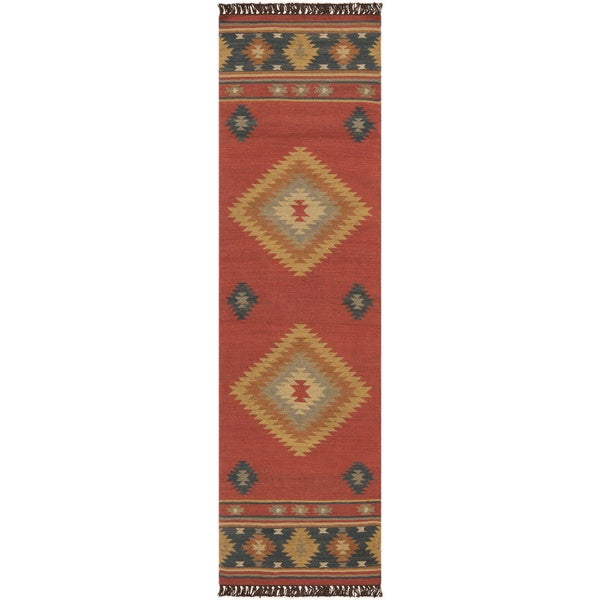 Hand Woven Red Southwestern Aztec Santa Fe Wool Area Rug