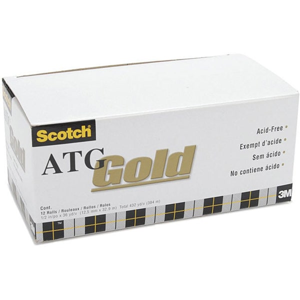 Scotch ATG Gold Adhesive Transfer Tape Rolls (Case of 12)