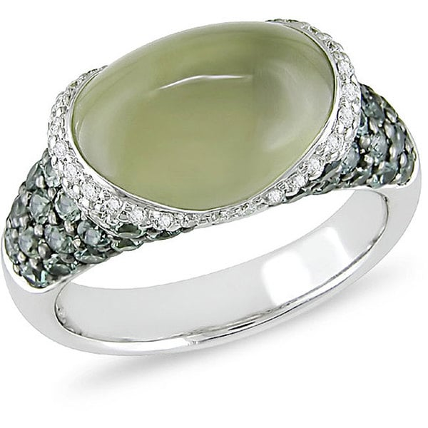 Miadora 14k Gold Green Quartz/ Green Sapphire/ 1/4ct TDW Diamond Ring (Size 7.5)