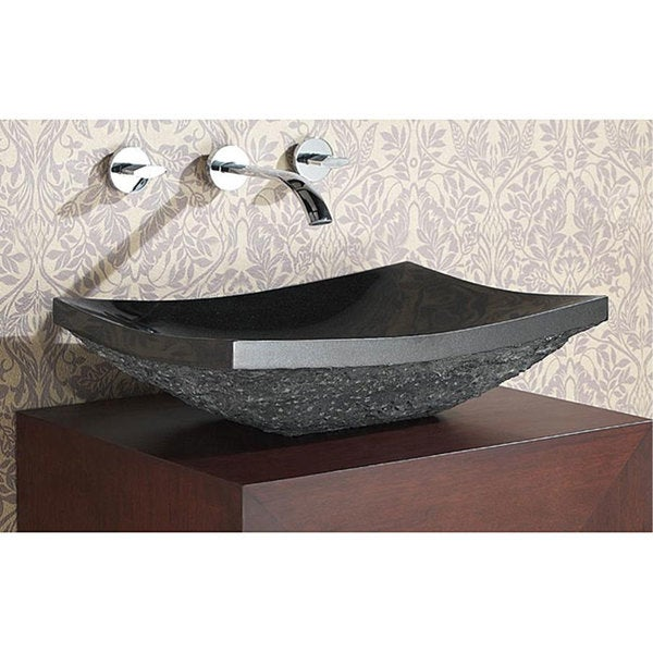 Avanity black granite stone rectangular vessel sink free for Black vessel bathroom sink