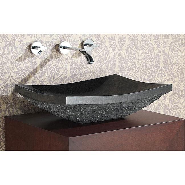 Avanity black granite stone rectangular vessel sink free shipping today 12380135 for Black granite vessel bathroom sinks