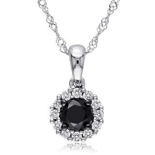 Miadora 14k Gold 1/2ct TDW Black and White Diamond Halo Necklace (H-I, I2-I3)