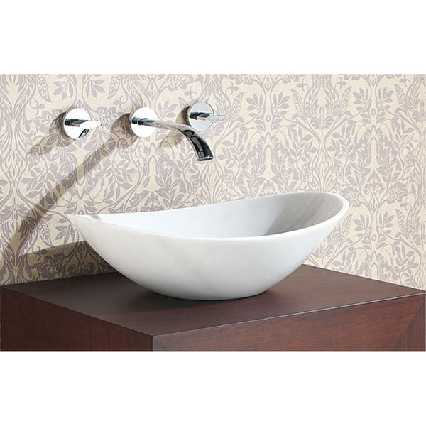 Superbe Avanity Oval White Marble Stone Vessel Sink