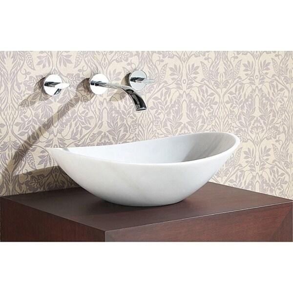 """Avanity 20.1-inch Oval White Marble Stone Vessel Sink - 20.1""""W x 5.9""""D"""