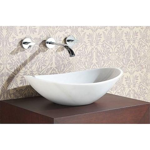 """Avanity 20.1-inch Oval White Marble Stone Vessel Sink - 20.1""""W x 5.9""""D - 20.1""""W x 5.9""""D"""