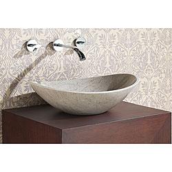 Avanity Oval Grey Marble Stone Vessel Sink