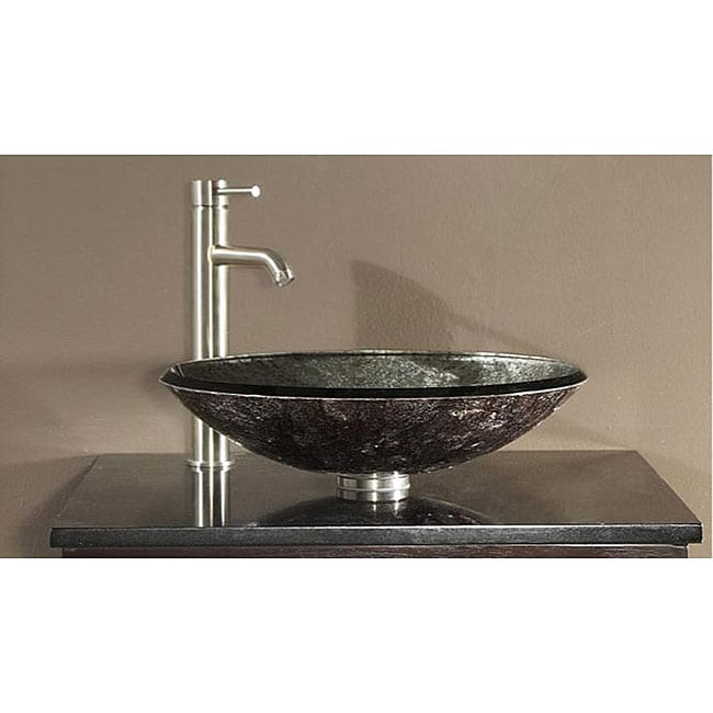 Perfect Avanity Tempered Glass Metallic Silver Sink Vessel