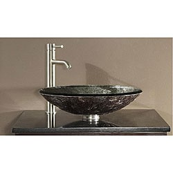 Avanity Tempered Glass Metallic Silver Sink Vessel