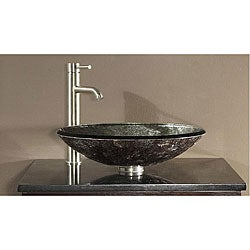 Avanity Tempered Glass Metallic Silver Sink Vessel
