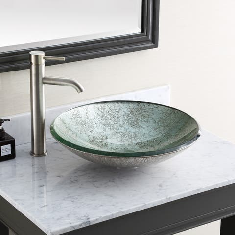 "Avanity 18-inch Round Tempered Glass Metallic Silver Sink Vessel - 18""W x 5""D"
