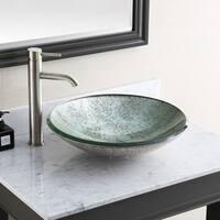 "Avanity 18-inch Round Tempered Glass Metallic Silver Sink Vessel - 18""W x 5""D"