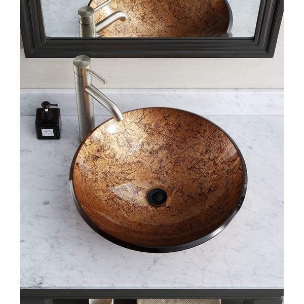 Avanity 18 Inch Round Tempered Glass Metallic Copper Sink Vessel 18 W X 5 D Overstock 4422030