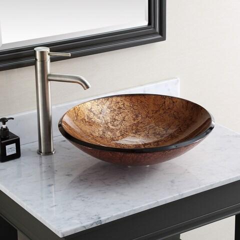 Avanity Tempered Glass Metallic Copper Sink Vessel