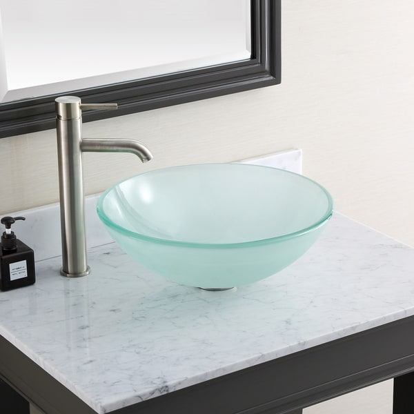 "Avanity 16.5-inch Round Tempered Frosted Glass Sink Vessel - 16.5""W x 5.5""D"