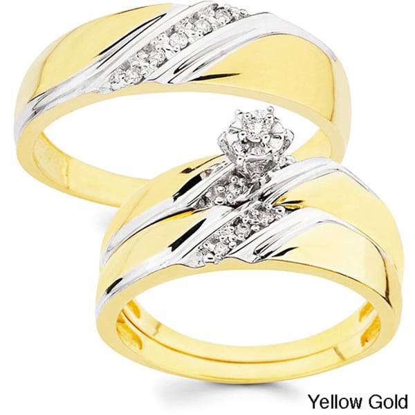 10k Gold 110ct TDW His and Her Wedding Ring Set H I I1 Free