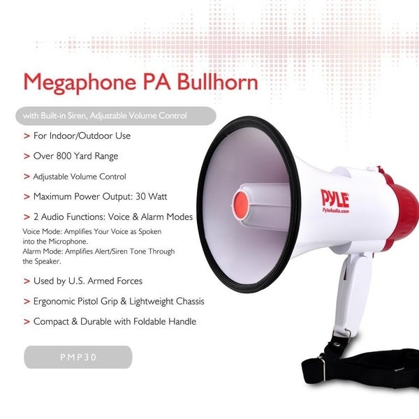 New Pyle PMP30 Professional Megaphone Bullhorn Speaker with Siren