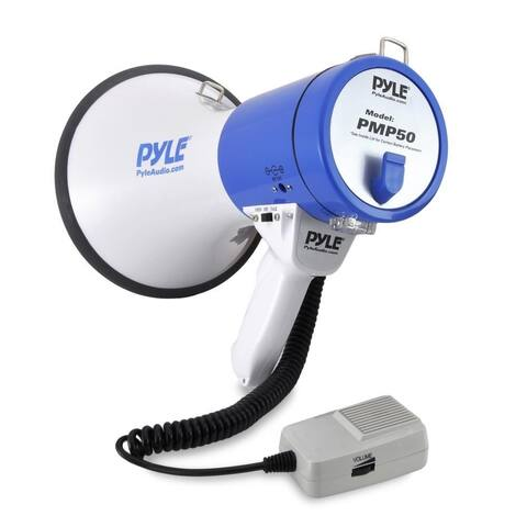 Pyle PMP50 Megaphone Speaker PA Bullhorn with Built-in Siren - 50 Watts Adjustable Volume Control and 1200 Yard Range