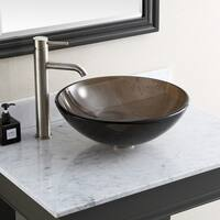 "Avanity 16.5-inch Brown Tempered Glass Vessel Sink - 16.5""W x 5.5""D"