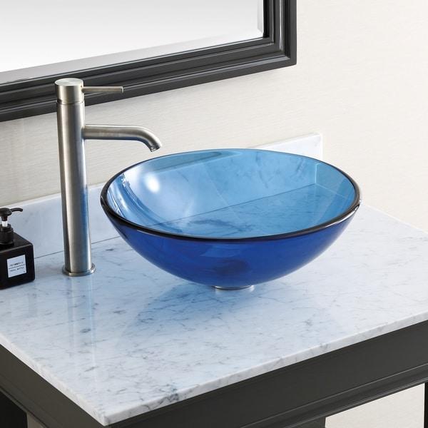 "Avanity 16.5-inch Blue Tempered Glass Vessel Sink - 16.5""W x 5.5""D"