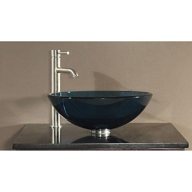 Avanity Tempered Glass Blue Vessel Sink