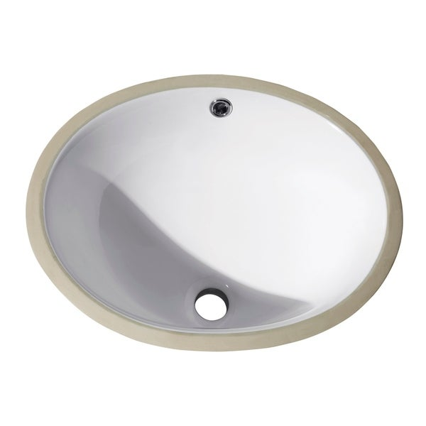 """Avanity Undermount 18-inch White Oval Vitreous China Sink - 18.1""""W x 7.9""""D. Opens flyout."""