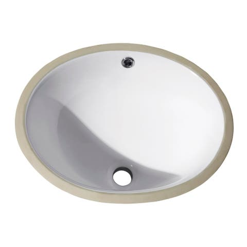 """Avanity Undermount 18-inch White Oval Vitreous China Sink - 18.1""""W x 7.9""""D"""