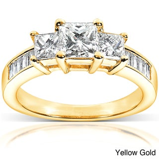 Annello by Kobelli 14k Gold 1 1/2ct TDW Princess Diamond Engagement Ring (H-I, I1-I2)