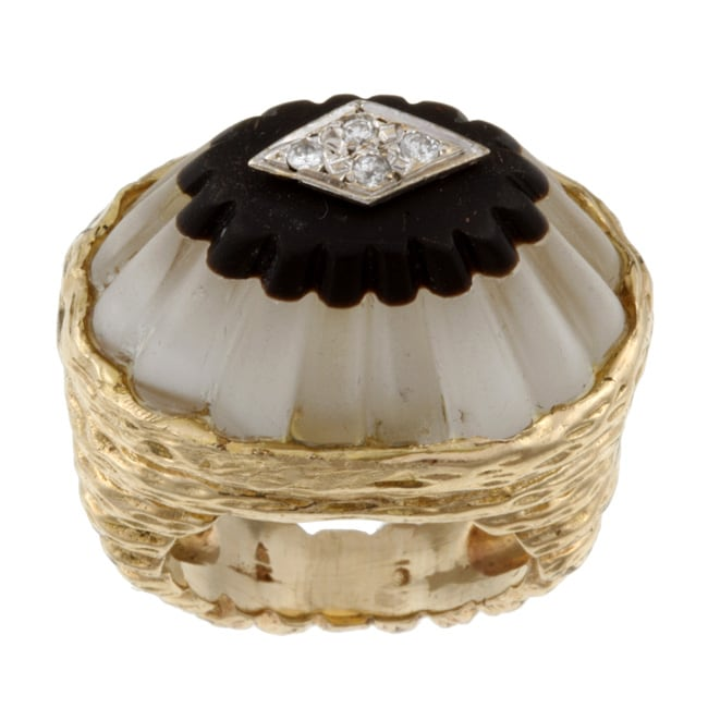 14k Yellow Gold Crystal Quartz and Diamond Art Deco Estate Ring (Size 5)