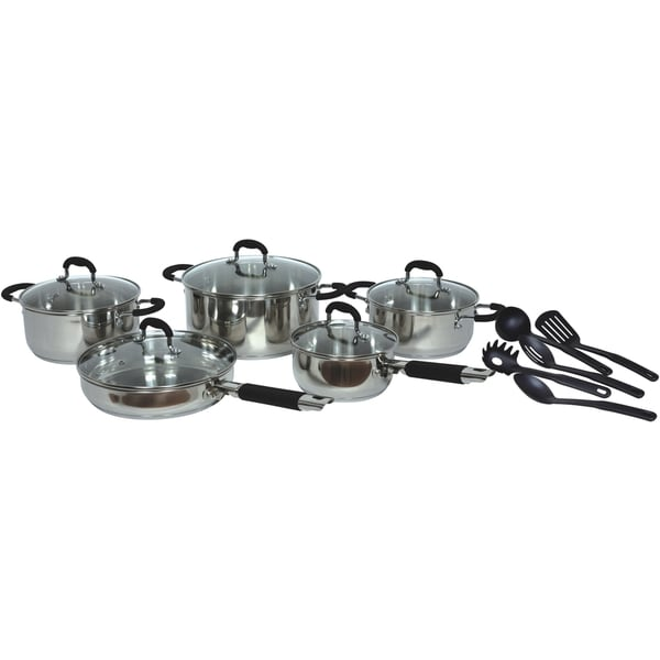 Gourmet Chef Stainless Steel 15-piece Cookware Set Black or Red. Opens flyout.