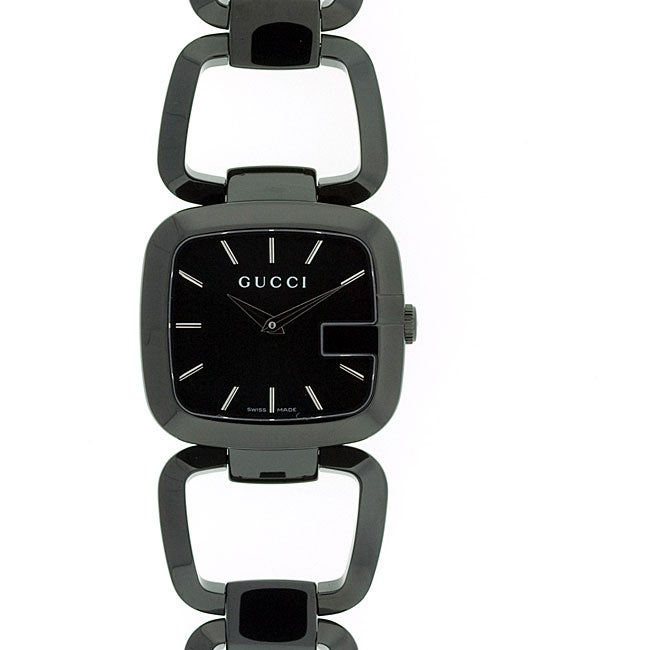006427f79c7 Shop Gucci Women s  G-Gucci  Medium Black IP Stainless Steel Watch - Free  Shipping Today - Overstock - 4424966