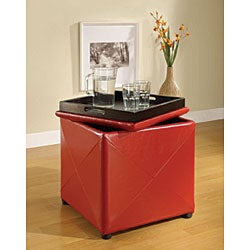 Red Synthetic Leather Storage Cube with Wood Serving Tray - Thumbnail 1