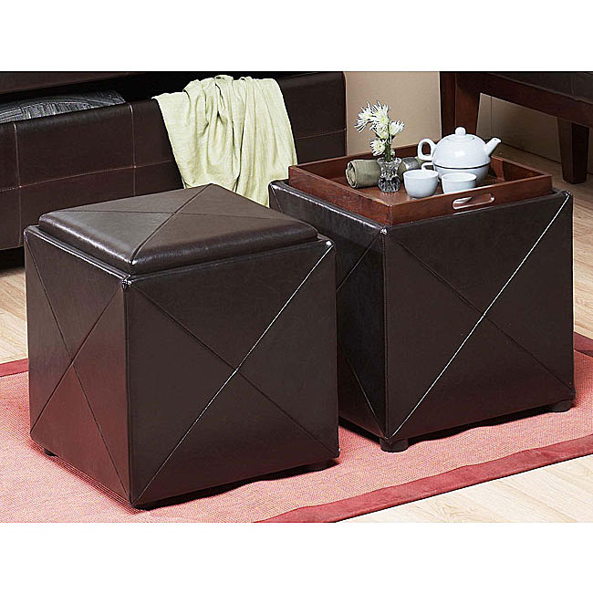 Chocolate Synthetic Leather Storage Cube with Wood Serving Tray - Chocolate Synthetic Leather Storage Cube With Wood Serving Tray