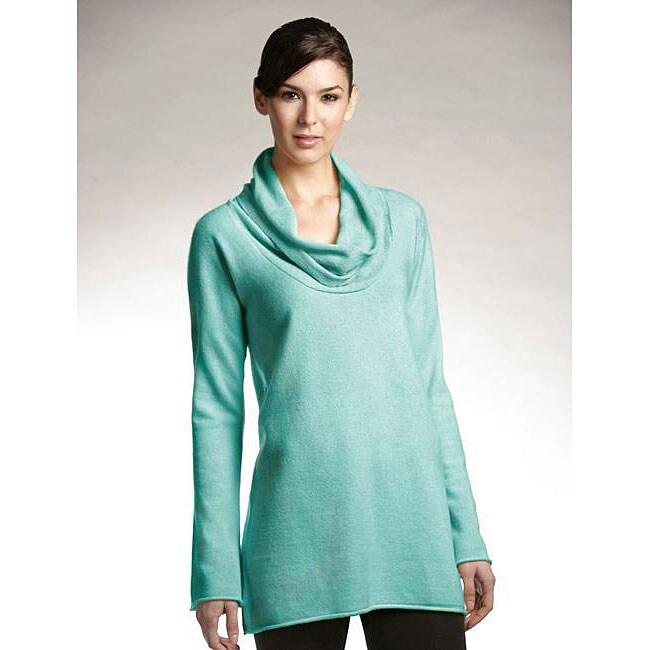 Lusso Women's Cowl Neck Cashmere Pullover Sweater