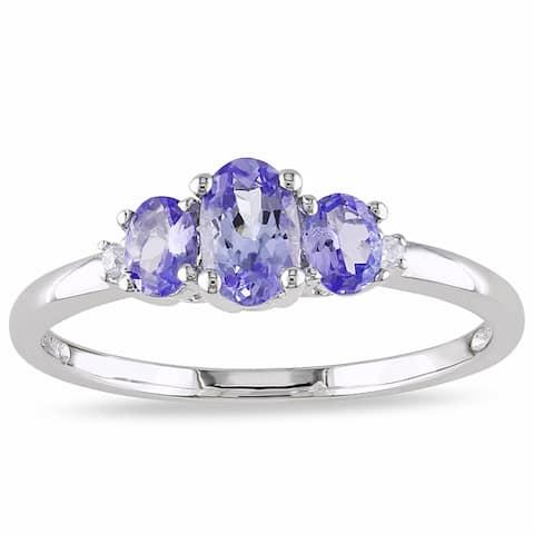 Miadora 10k White Gold Tanzanite and Prong-set Diamond Ring