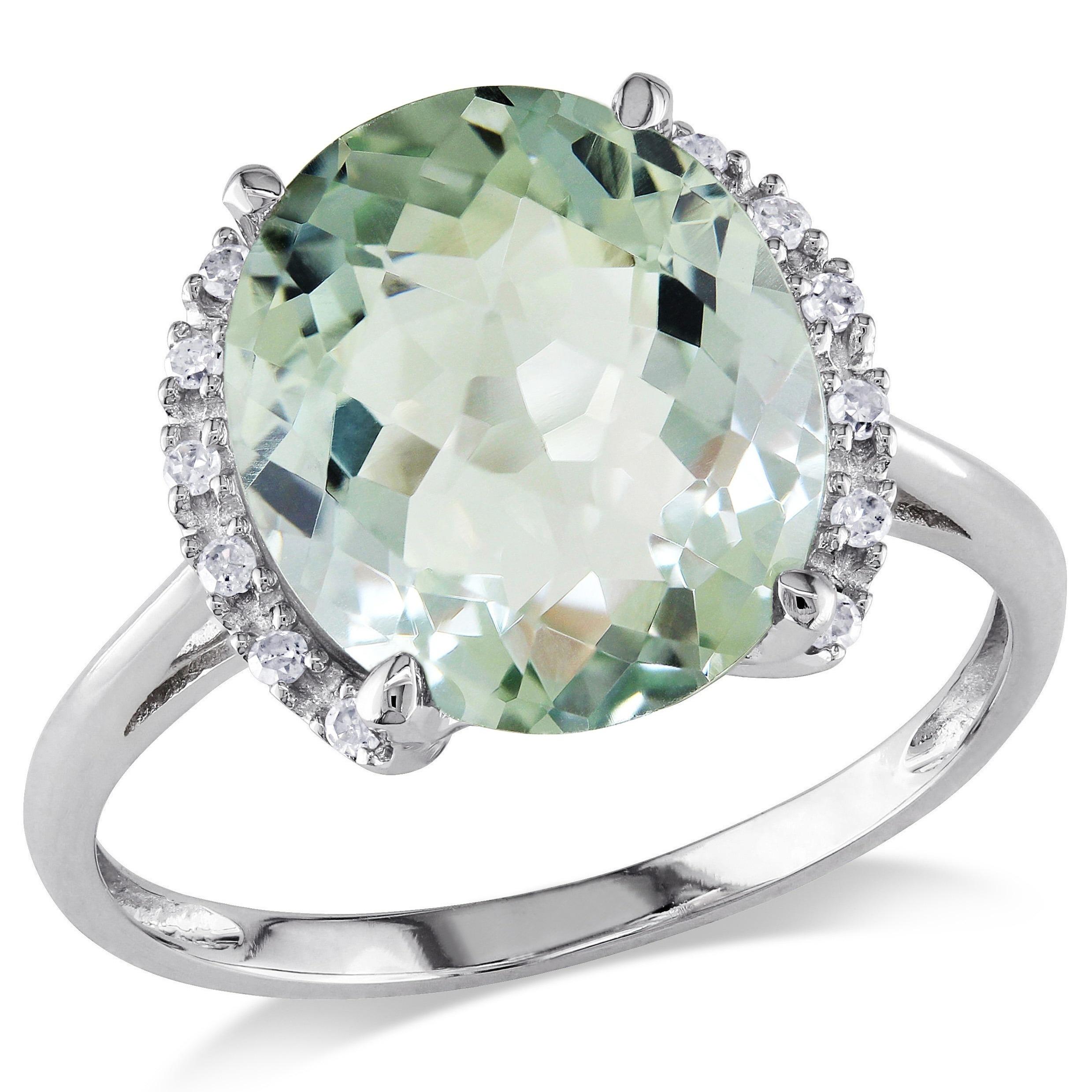 miadora 10k gold green amethyst and diamond ring 7 ebay. Black Bedroom Furniture Sets. Home Design Ideas