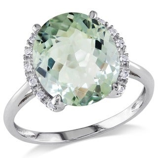 Miadora 10k Gold Green Amethyst and Diamond Ring