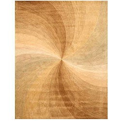 Hand-tufted Wool Gold Contemporary Abstract Swirl Rug - 7'9 x 9'9 - Thumbnail 0