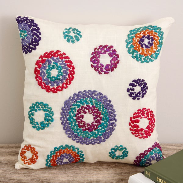 Shop Handstitched 'Circles' 40x40 Cream Silk Decorative Pillow Mesmerizing Indian Silk Decorative Pillows