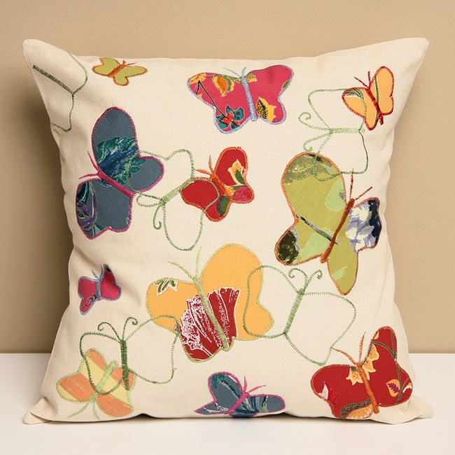 Butterfly Garden Embroidered Cotton Decorative Pillow Cover (India)